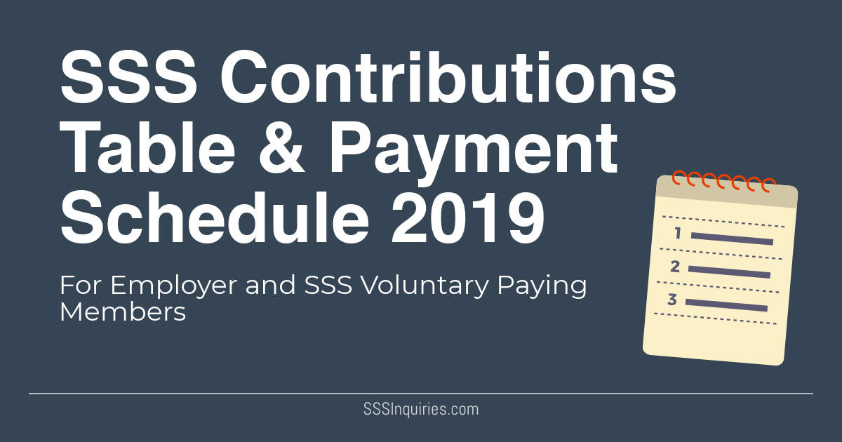 SSS Contributions Schedule 2019 - SSS Inquiries