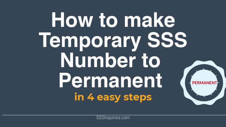 How to make temporary SSS Number to Permanent in 4 easy steps